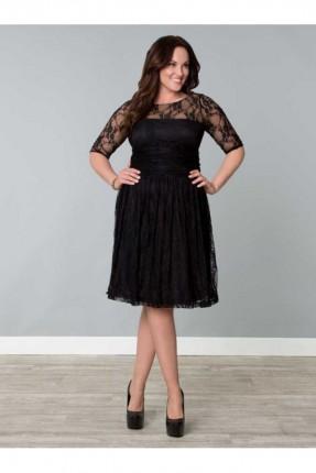 فستان رسمي دانتيل - اسود