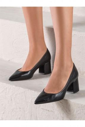 حذاء نسائي بكعب عريض - اسود