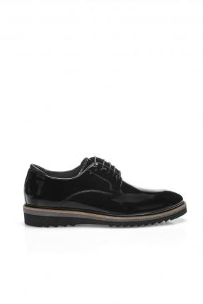 حذاء رجالي شيك برباط ذو لمعة - اسود