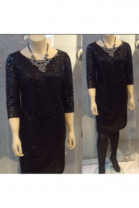 فستان رسمي مزين بالباييت - اسود