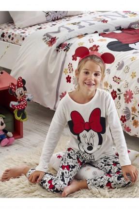 بيجاما اطفال بناتي بطبعة ميني ماوس - ابيض