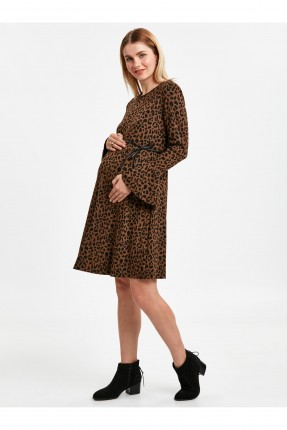 فستان سبور حمل منقش جلد النمر - بني