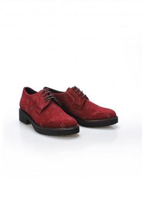 حذاء نسائي جلد مزين بستراس - خمري