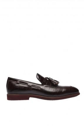 حذاء رجالي جلد شيك مزين بكشكش - بني