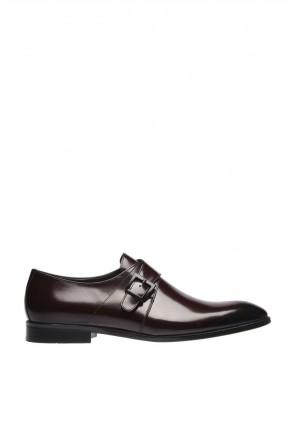 حذاء رجالي جلد شيك بحزام - خمري