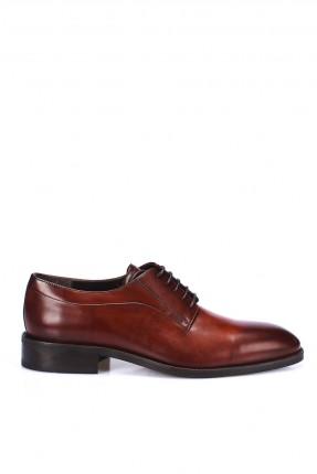 حذاء رجالي جلد شيك برباط - بني