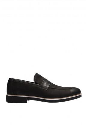 حذاء رجالي شيك مزينة بحزام- اسود