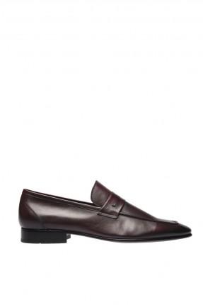 حذاء رجالي جلد شيك مزين بحزام - بني