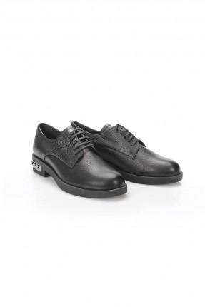حذاء نسائي جلد بكعب مزين - اسود
