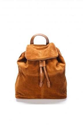 حقيبة ظهر جلد نسائية بغطاء