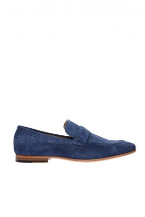 حذاء رجالي جلد شيك مزين بحزام - ازرق داكن