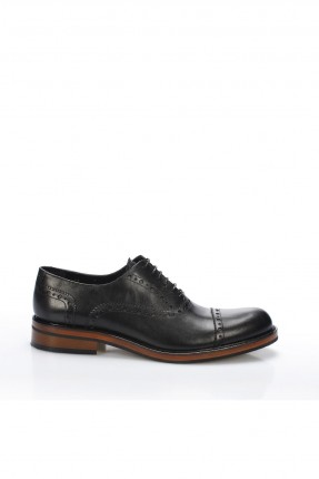 حذاء رجالي جلد شيك برباط - اسود