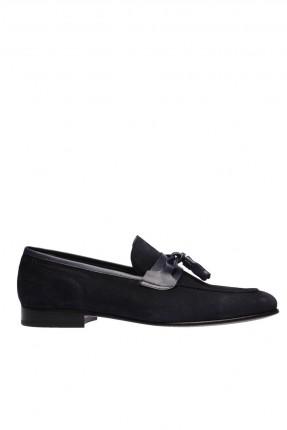 حذاء رجالي جلد شيك مزين بكشكش