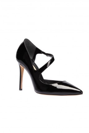 حذاء نسائي جلد كعب رفيع -اسود