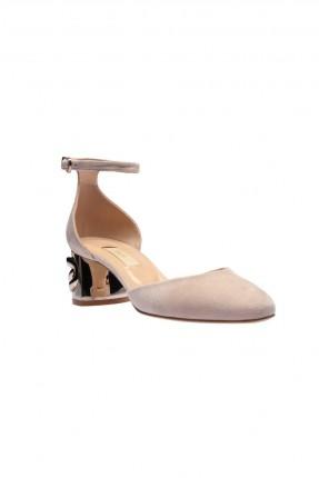 حذاء نسائي جلد بكعب عريض مزين