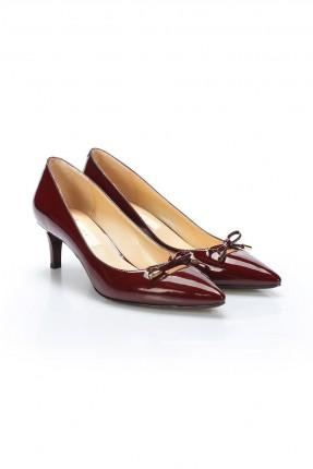 حذاء نسائي كعب رفيع مزين بفيونكا - خمري