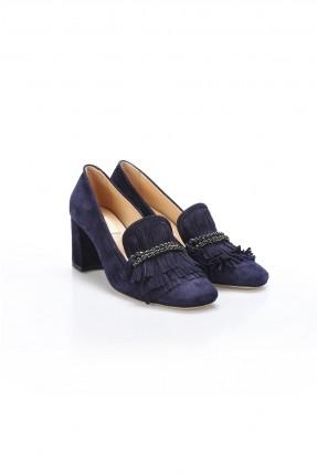 حذاء نسائي جلد مزين بشراشيب - ازرق داكن