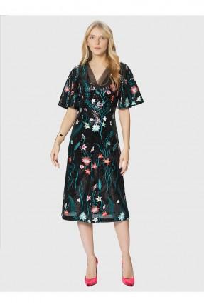 فستان رسمي مزهر مزين بالباييت