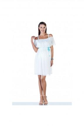 فستان سبور حمل منقش مع كشكش