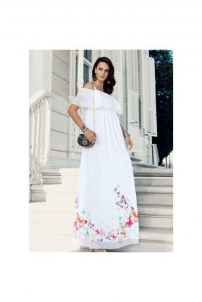 فستان سبور حمل طويل منقش فراشات