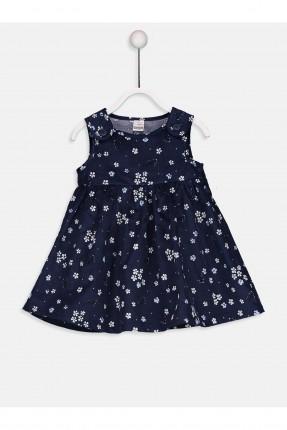 فستان بيبي بناتي منقش - ازرق داكن