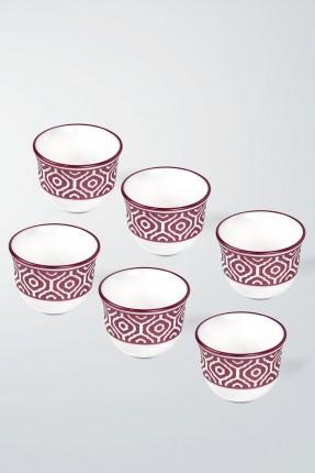 طقم فناجين قهوة عربية 6 اشخاص - خمري
