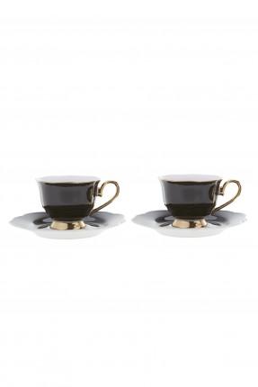 طقم فنجان قهوة /2 شخص / - اسود