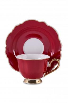 طقم فنجان قهوة /2 شخص / - احمر