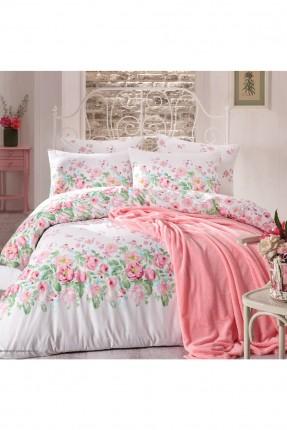 طقم غطاء سرير مزدوج مع بطانية مزخرف ورود