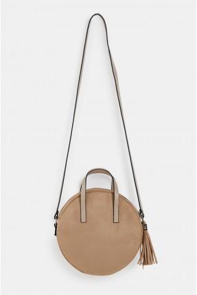 حقيبة يد نسائية مستديرة مزينة شراشيب