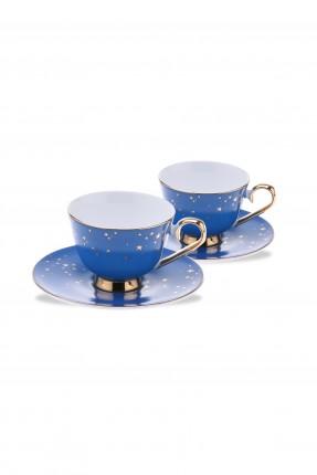 طقم فنجان قهوة /2 شخص/ - ازرق