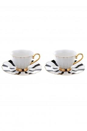 طقم فنجان قهوة /2 شخص/ مخطط