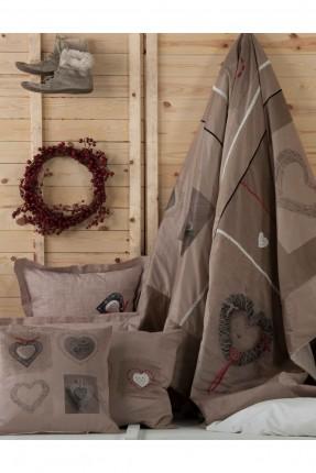 طقم غطاء سرير مزدوج - بني