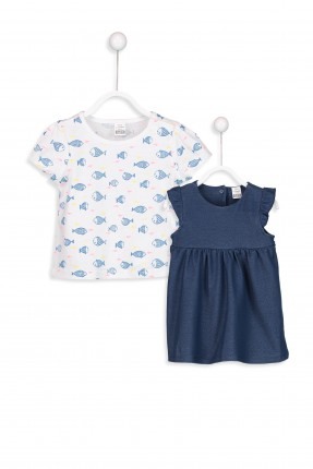فستان بيبي بناتي جينز + تيشرت