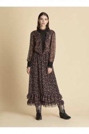 فستان سبور منقش مع كشكش