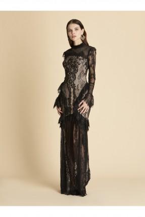 فستان رسمي دانتيل وكشكش