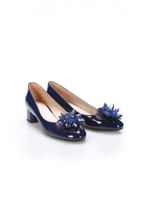 حذاء نسائي لامع مع وردة - كحلي
