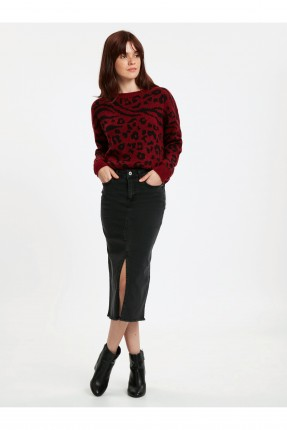 تنورة قصيرة جينز مع جيوب - اسود
