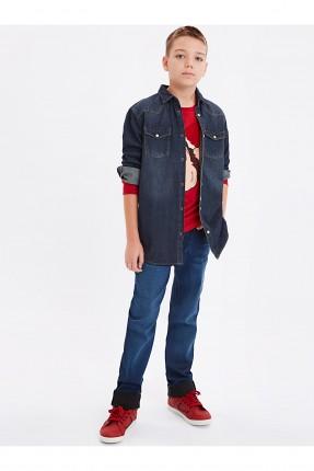 بنطال اطفال ولادي جينز مع جيوب سليم فيت