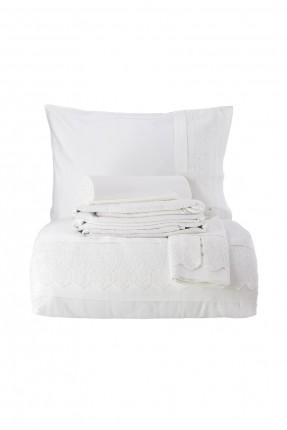 طقم غطاء سرير مزدوج دانتيل - ابيض