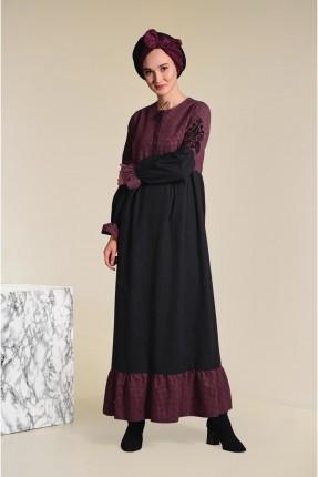 فستان سبور طويل منقش مع كشكش