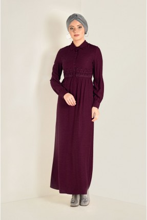 فستان سبور طويل منقش سادة