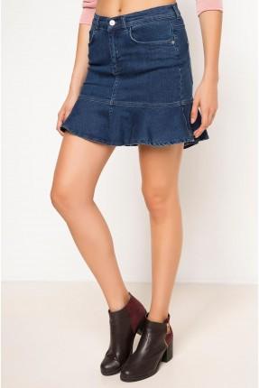 تنورة قصيرة جينز مع كشكش