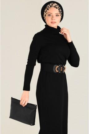 فستان سبور طويل بياقة عالية