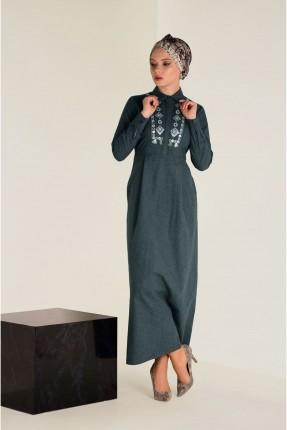 فستان سبور طويل منقش مع جيوب