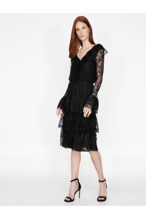 فستان رسمي دانتيل ياقة V