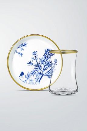 طقم شاي 6 اشخاص - زخرفة شجرة ازرق