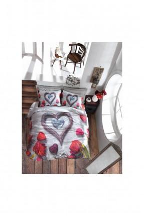 طقم غطاء سرير مزدوج مع رسمة قلب