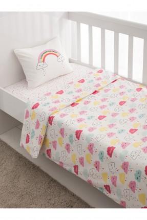 طقم غطاء سرير بيبي مع رسمة غيوم