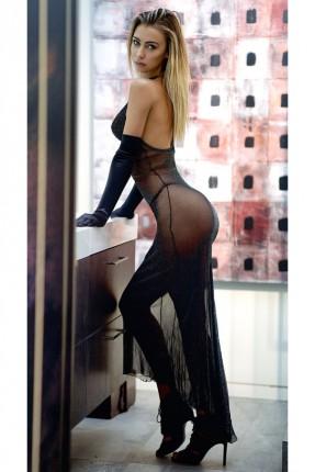 فستان لانجري طويل شفاف